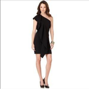 Calvin Klein One Shoulder Ruffle Black Dress